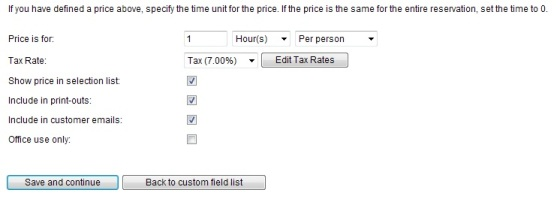 Custom field tax