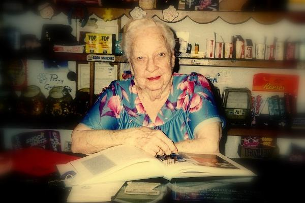 Lillian Redman at the front desk of the Blue Swallow in 1997.  She owned and operated the Motel for nearly forty years!