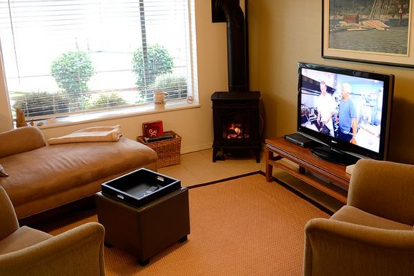 Cozy Gas Fireplace and Large HD TV