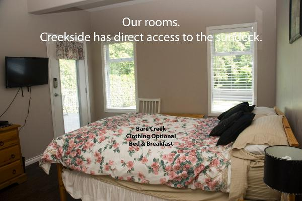 Creekside room is bright and has direct access to the sundeck.