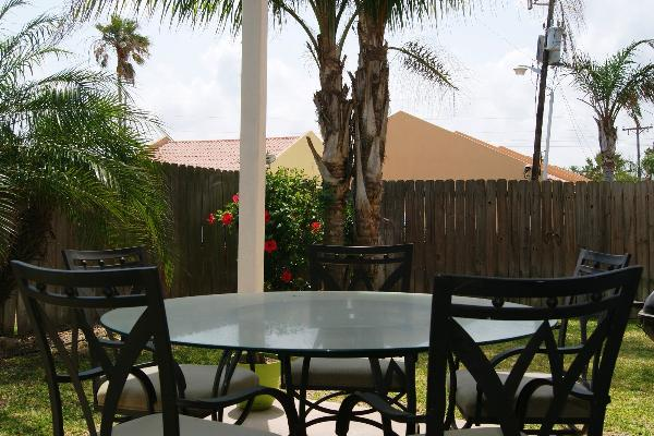 Rear patio with table