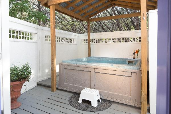 Each cottage has a private hot tub