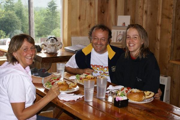 Guests at the Backwoods Cafe enjoying a meal