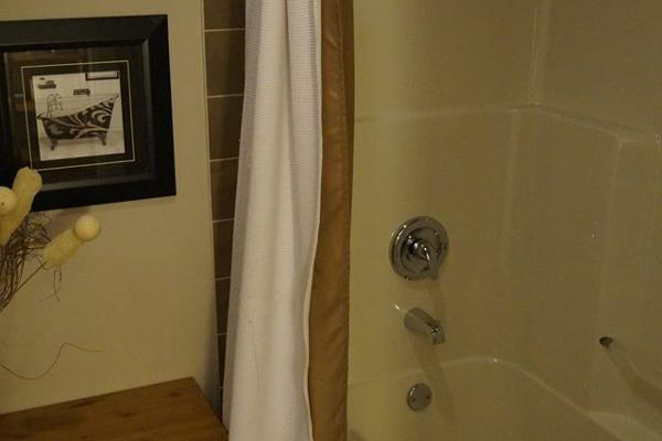 Separate shower & tub makes this bathroom very share-able.