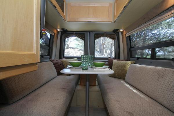 Rear seating for dining. Can be made into king sized or 2 twin beds.