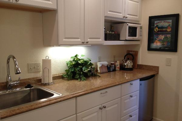 Fully appointed kitchenette with hot plate, fridge, microwave, dishes, cutlery, utensils, etc.