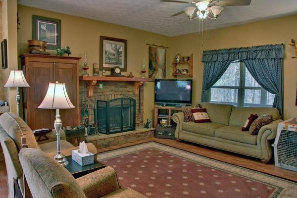 Main Living Area with Stack Stone Fireplace