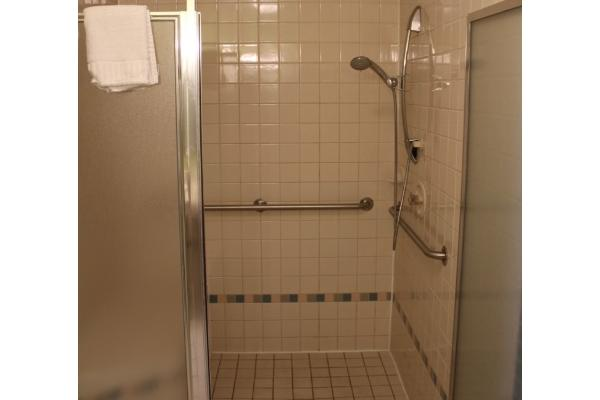 Handicap accessible shower.