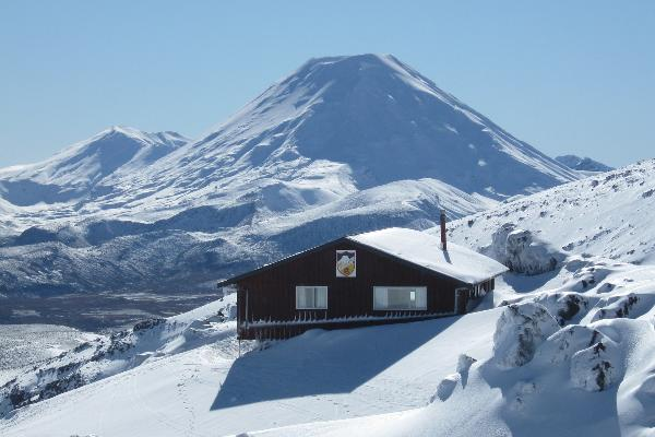 Lodge exterior - Mt Ngauruhoe in background