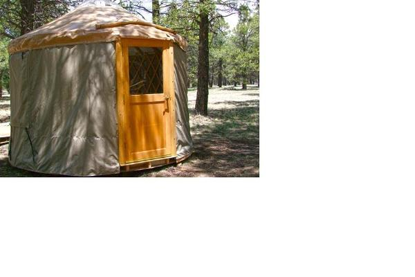 Close up view of small yurt