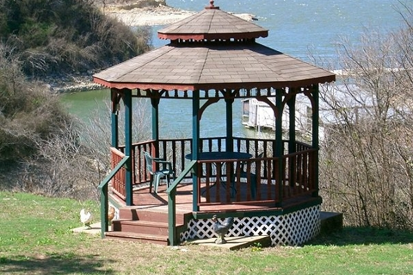 Gazebo overlooking the beautiful lake.