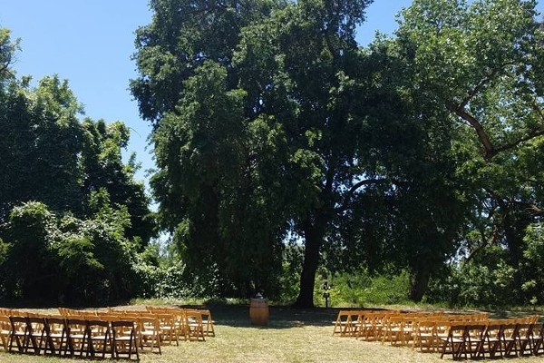Open area behind lodge set-up for a wedding ceremony
