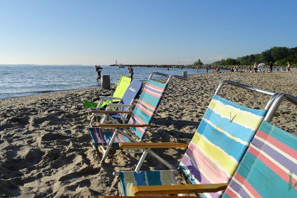 Private soft-sand Lake Ontario beach available to overnight guests