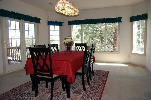 Spacious dining area with lots of windows