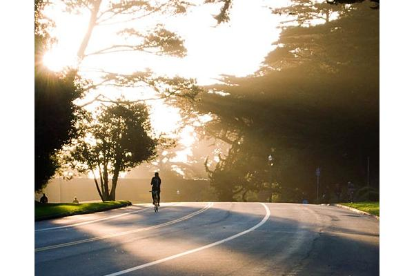 Ride the endless trails and roads of Golden Gate Park - one of the countries largest urban parks