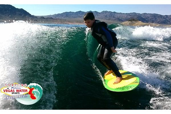 Everyone of all ages can experience any water sport activities on Lake Mead including Wakesurfing.